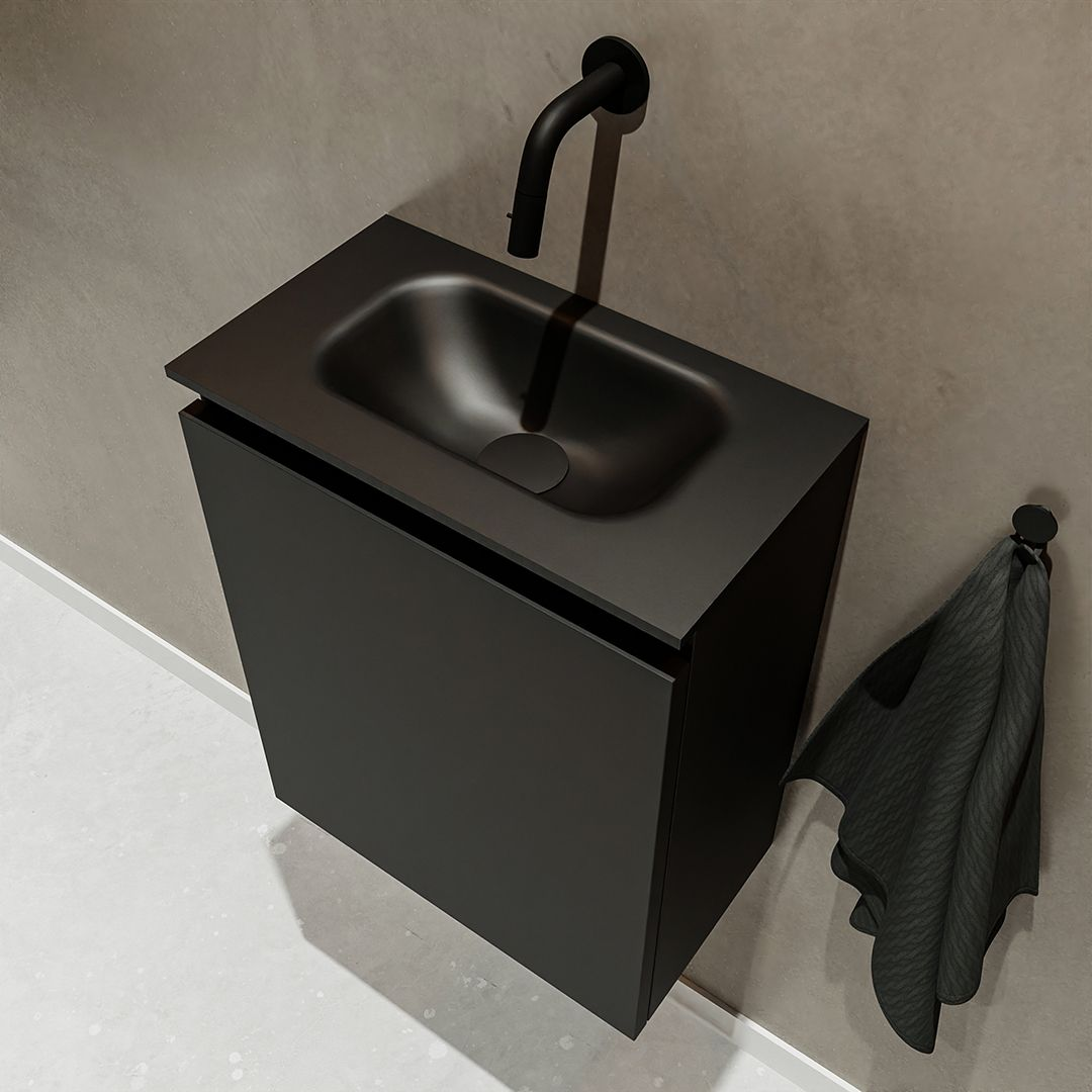 zwarte click sifon zwarte wastafel solid surface zwarte onderkast badmeubel met 1 deur