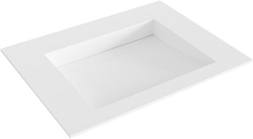 AVON Talc solid surface inbouw wastafel 60cm Positie wasbak midden