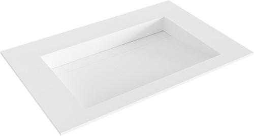 AVON Talc solid surface inbouw wastafel 70cm Positie wasbak midden