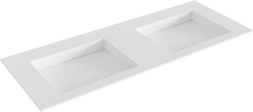 AVON Talc solid surface inbouw wastafel 121cm dubbel