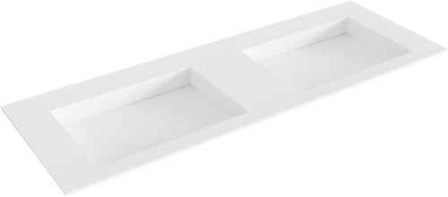 AVON Talc solid surface inbouw wastafel 131cm dubbel