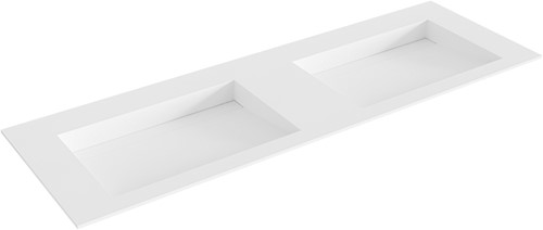 AVON Talc solid surface inbouw wastafel 141cm dubbel