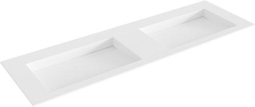 AVON Talc solid surface inbouw wastafel 151cm dubbel