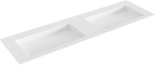 AVON Talc solid surface inbouw wastafel 161cm dubbel