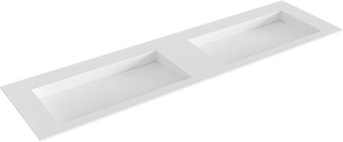 AVON Talc solid surface inbouw wastafel 171cm dubbel
