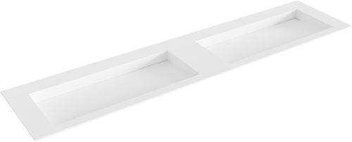 AVON Talc solid surface inbouw wastafel 200cm dubbel