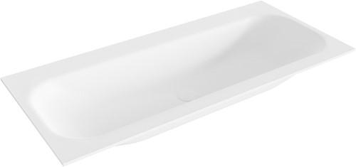BIG medium Talc solid surface inbouw wastafel 100cm midden
