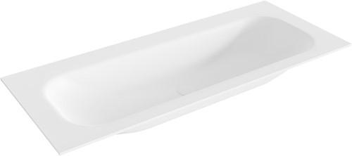 BIG medium Talc solid surface inbouw wastafel 111cm midden