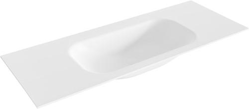 BIG small Talc solid surface inbouw wastafel 121cm midden