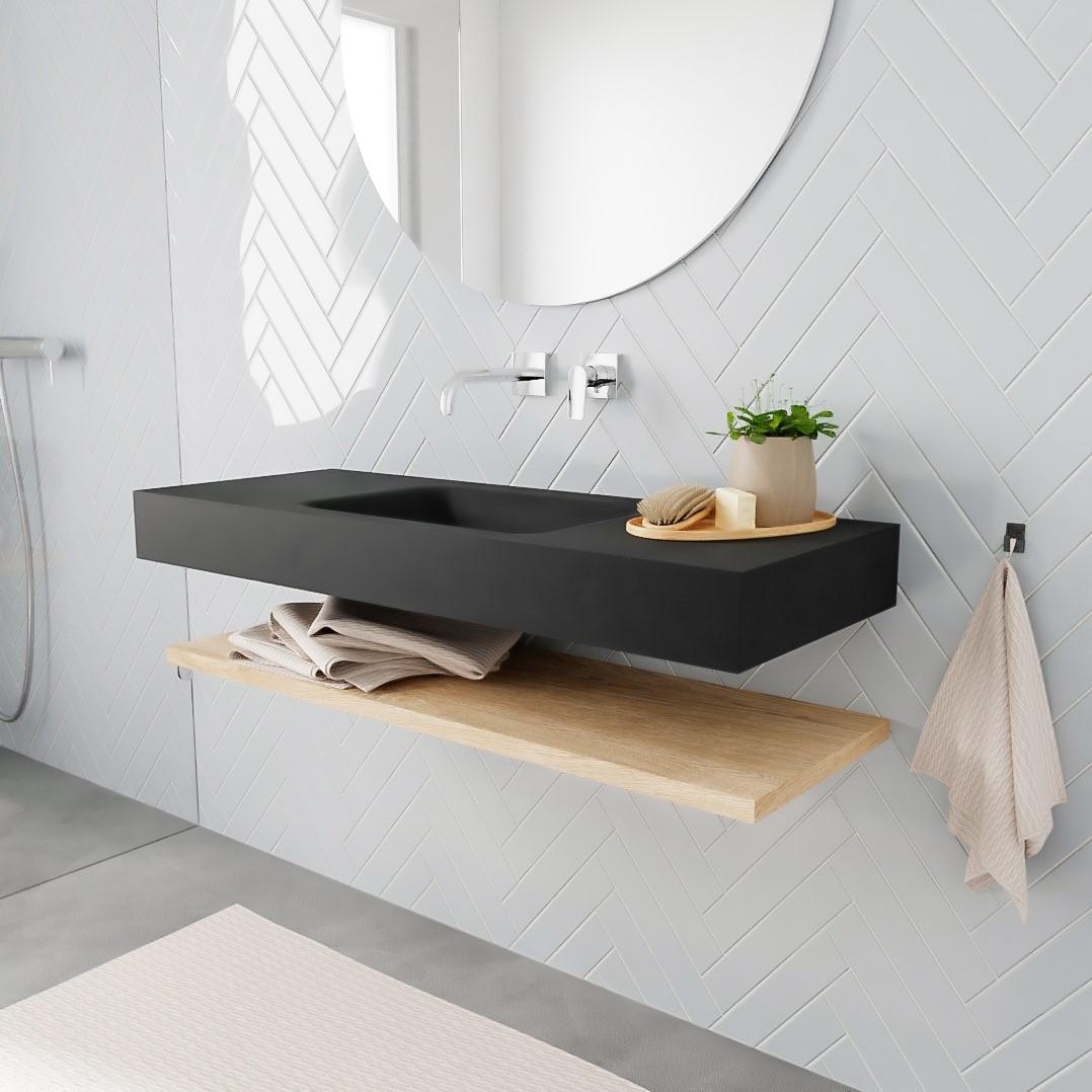 vrijhangende wastafel zwart met houten planchet badmeubelset