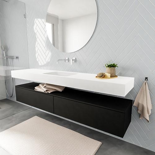 ALAN badmeubel 200  urban 2 lades vrijhangend wastafel midden zonder kraangat wit