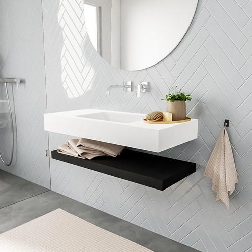 ALAN badmeubel 100 solid suface planchet urban vrijhangend wastafel midden zonder kraangat wit