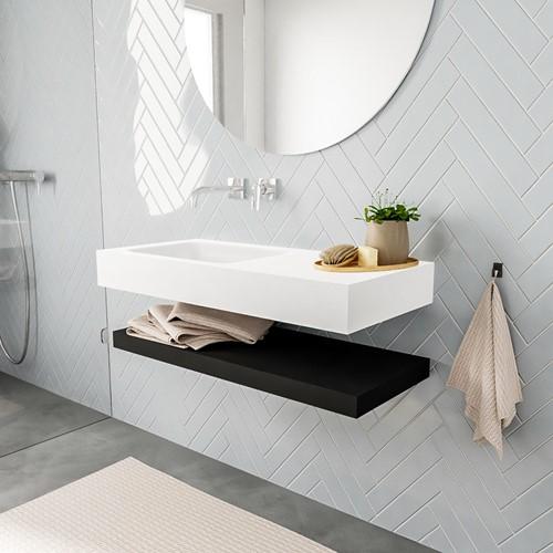 ALAN badmeubel 100 solid suface planchet urban vrijhangend wastafel links zonder kraangat wit