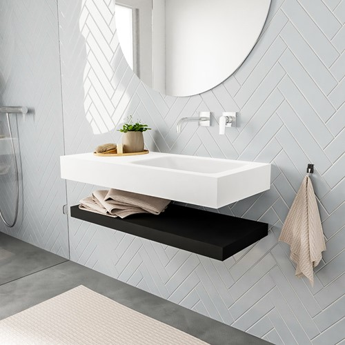 ALAN badmeubel 100 solid suface planchet urban vrijhangend wastafel rechts zonder kraangat wit