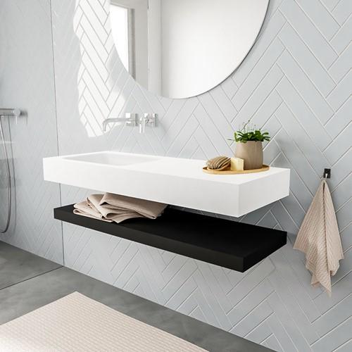 ALAN badmeubel 120 solid suface planchet urban vrijhangend wastafel links zonder kraangat wit