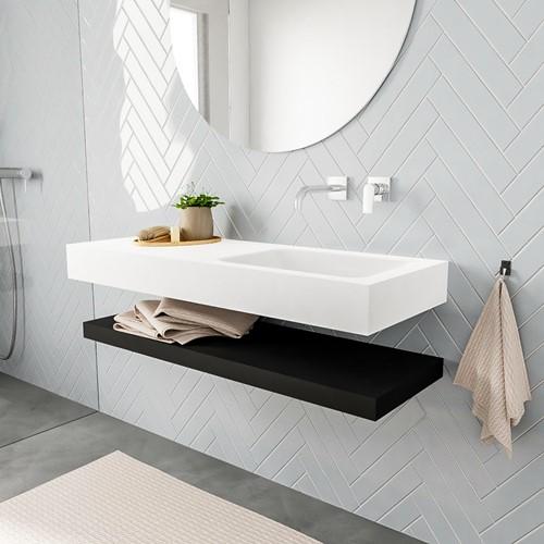 ALAN badmeubel 120 solid suface planchet urban vrijhangend wastafel rechts zonder kraangat wit