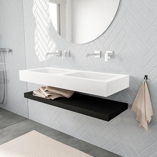 ALAN badmeubel 120 solid suface planchet urban vrijhangend wastafel dubbel zonder kraangat wit
