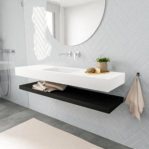 ALAN badmeubel 150 solid suface planchet urban vrijhangend wastafel midden zonder kraangat wit