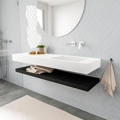 ALAN badmeubel 150 solid suface planchet urban vrijhangend wastafel rechts zonder kraangat wit