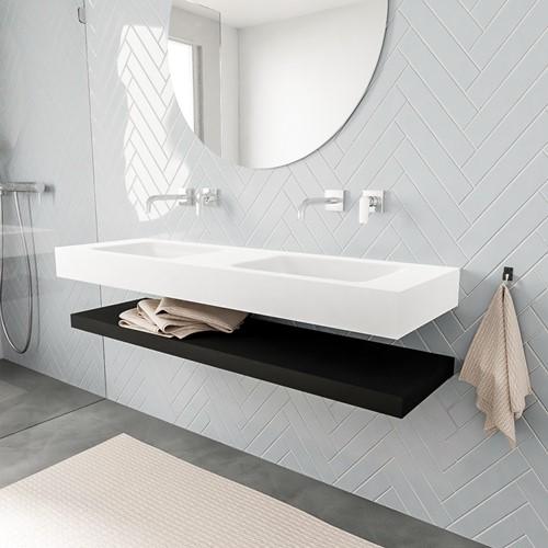 ALAN badmeubel 150 solid suface planchet urban vrijhangend wastafel dubbel zonder kraangat wit