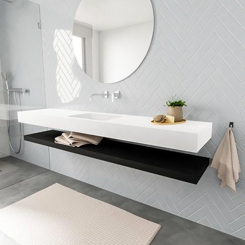 ALAN badmeubel 200 solid suface planchet urban vrijhangend wastafel midden zonder kraangat wit