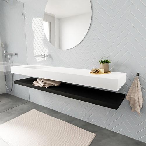 ALAN badmeubel 200 solid suface planchet urban vrijhangend wastafel links zonder kraangat wit
