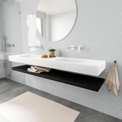 ALAN badmeubel 200 solid suface planchet urban vrijhangend wastafel dubbel zonder kraangat wit