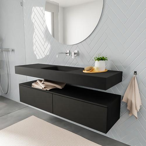 ALAN badmeubel 150  urban 2 lades vrijhangend wastafel midden zonder kraangat zwart