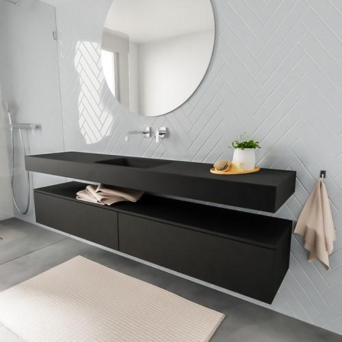 ALAN badmeubel 200  urban 2 lades vrijhangend wastafel midden zonder kraangat zwart