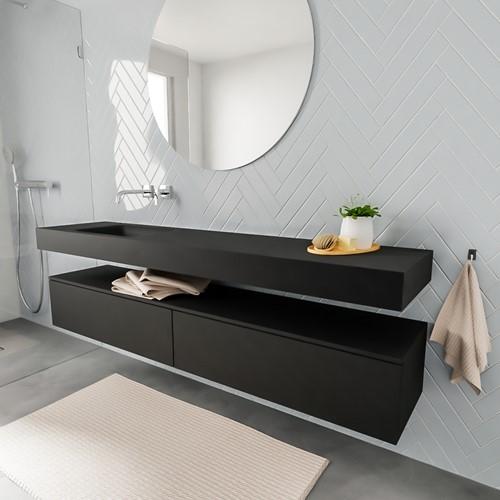 ALAN badmeubel 200  urban 2 lades vrijhangend wastafel links zonder kraangat zwart