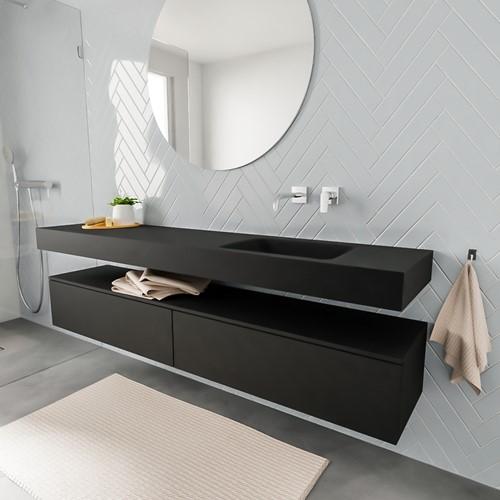 ALAN badmeubel 200  urban 2 lades vrijhangend wastafel rechts zonder kraangat zwart
