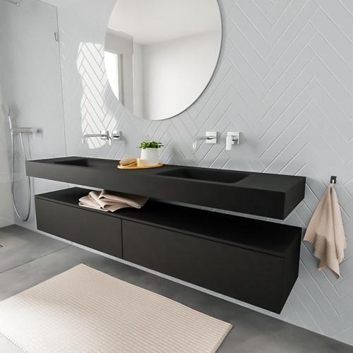 ALAN badmeubel 200  urban 2 lades vrijhangend wastafel dubbel zonder kraangat zwart