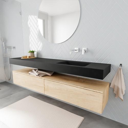 ALAN badmeubel 200  washed oak 2 lades vrijhangend wastafel rechts zonder kraangat zwart