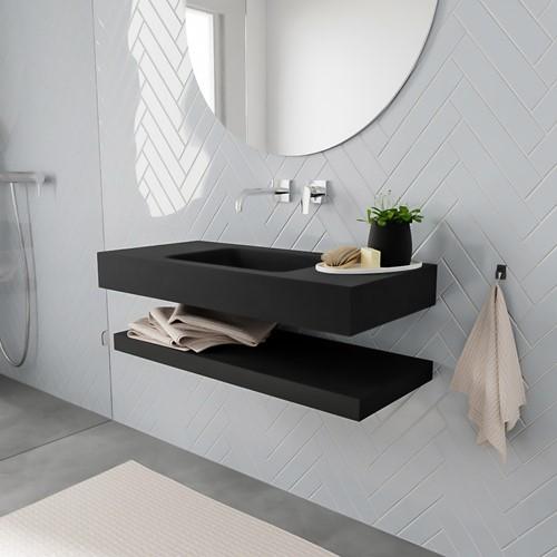 ALAN badmeubel 100 solid suface planchet urban vrijhangend wastafel midden zonder kraangat zwart