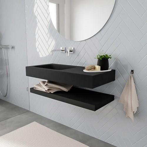 ALAN badmeubel 100 solid suface planchet urban vrijhangend wastafel links zonder kraangat zwart
