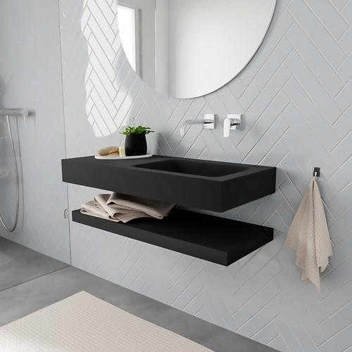 ALAN badmeubel 100 solid suface planchet urban vrijhangend wastafel rechts zonder kraangat zwart