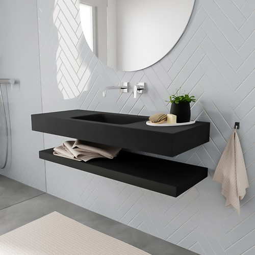 ALAN badmeubel 120 solid suface planchet urban vrijhangend wastafel midden zonder kraangat zwart