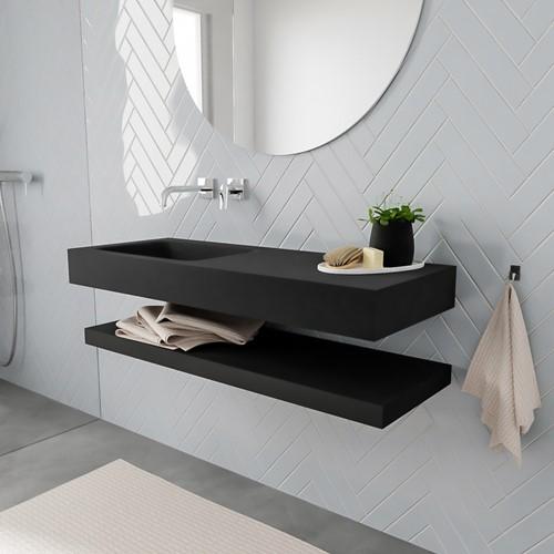 ALAN badmeubel 120 solid suface planchet urban vrijhangend wastafel links zonder kraangat zwart