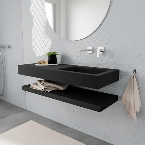 ALAN badmeubel 120 solid suface planchet urban vrijhangend wastafel rechts zonder kraangat zwart