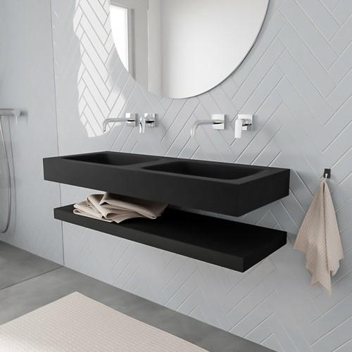 ALAN badmeubel 120 solid suface planchet urban vrijhangend wastafel dubbel zonder kraangat zwart
