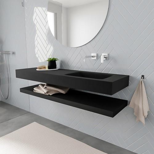 ALAN badmeubel 150 solid suface planchet urban vrijhangend wastafel rechts zonder kraangat zwart