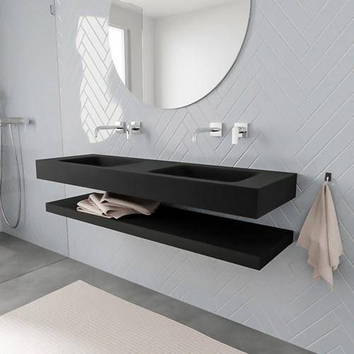 ALAN badmeubel 150 solid suface planchet urban vrijhangend wastafel dubbel zonder kraangat zwart