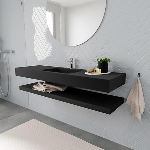 ALAN badmeubel 150 solid suface planchet urban vrijhangend wastafel midden 1 kraangat zwart