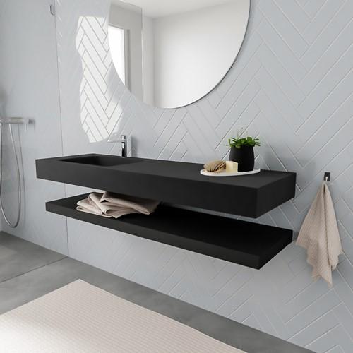 ALAN badmeubel 150 solid suface planchet urban vrijhangend wastafel links 1 kraangat zwart