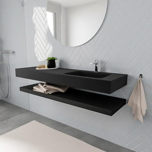 ALAN badmeubel 150 solid suface planchet urban vrijhangend wastafel rechts 1 kraangat zwart