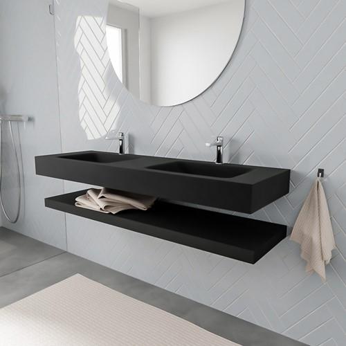 ALAN badmeubel 150 solid suface planchet urban vrijhangend wastafel dubbel 2 kraangaten zwart