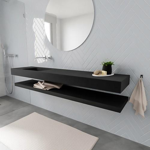 ALAN badmeubel 200 solid suface planchet urban vrijhangend wastafel links zonder kraangat zwart