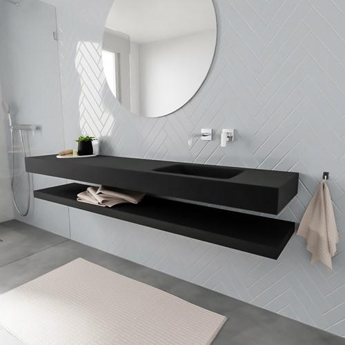 ALAN badmeubel 200 solid suface planchet urban vrijhangend wastafel rechts zonder kraangat zwart
