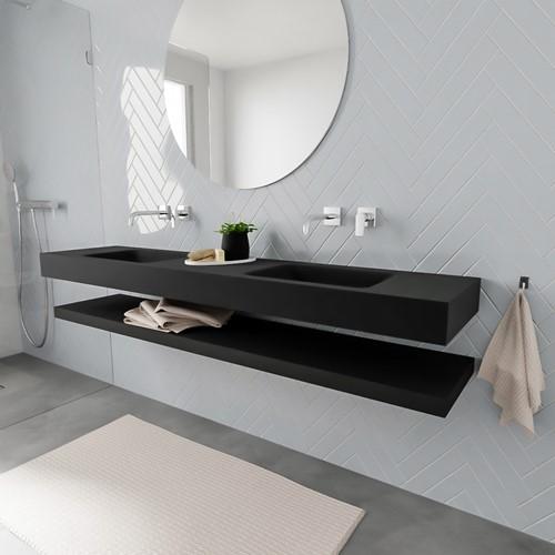 ALAN badmeubel 200 solid suface planchet urban vrijhangend wastafel dubbel zonder kraangat zwart