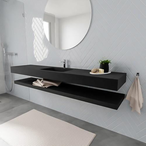 ALAN badmeubel 200 solid suface planchet urban vrijhangend wastafel midden 1 kraangat zwart